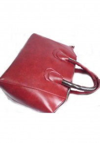 Wine Red Zipper Cotton Lining PU Leather Messenger Bag(Middle)