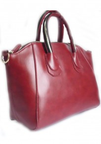 Wine Red Zipper Cotton Lining PU Leather Large Messenger Bag