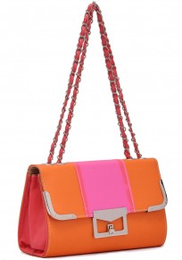 Orange Chain Cotton Lining PU Leather Tote