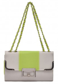 Green Chain Cotton Lining PU Leather Tote
