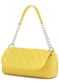 Yellow Chain Cotton Lining PU Leather Tote