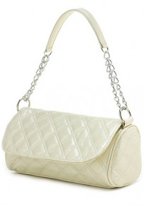 Beige Chain Cotton Lining PU Leather Tote