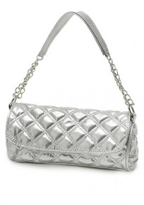 Silver Chain Cotton Lining PU Leather Tote