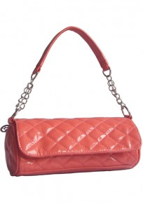 Red Chain Cotton Lining PU Leather Tote