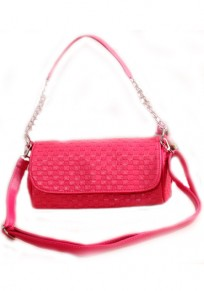 Rose-Carmine Chain Cotton Lining PU Leather Tote
