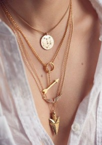 Golden Fashion Alloy Angel Wings Arrow Scales Pendant Necklace