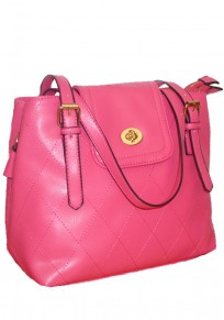 Pink Geometric Cotton Lining PU Leather Shoulder Bag