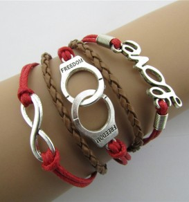 Red Love Handcuffs 5 Layers Vintage Woven Bracelet