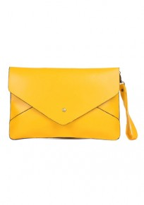 Yellow PU Leather Clutch Bag