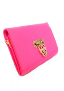 Pink Skull Cotton Lining PU Leather Clutch
