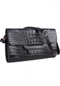 Black Chain Cotton Lining PU Leather Clutch