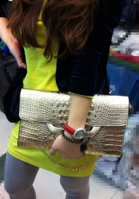 Golden Chain Cotton Lining PU Leather Clutch
