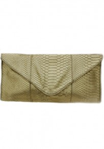 Golden Cotton Lining PU Leather Clutch