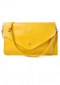 Yellow Plain PU Leather Envelope Clutch