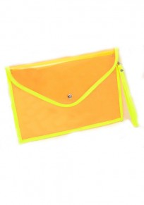 Yellow Patchwork Candy color transparent PU Leather Clutch