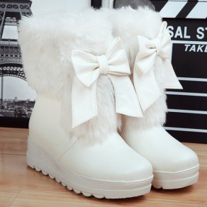 White Round Toe Wedges Bow Ankle Sweet Boots