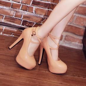 Apricot Round Toe Chunky Cross Strap Buckled Fashion High-Heeled Shoes