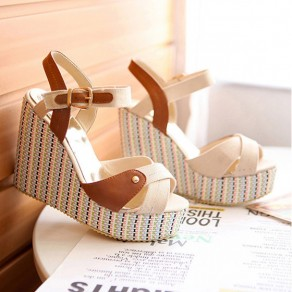 Beige Piscine Mouth Wedges Multicolor Striped Print Buckled High-Heeled Sandals