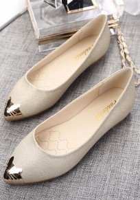 Golden Point Toe Patchwork Fashion Flat Shoes