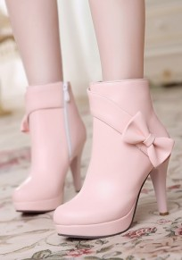 Pink Round Toe Stiletto Bow Zipper Sweet Ankle Boots