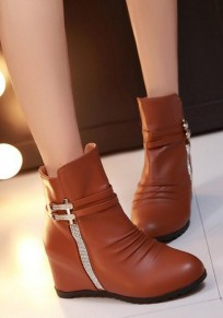 Dark Brown Round Toe Flat Within The Higher Rhinestone Casual Boots