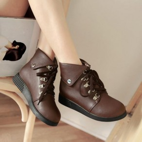 Brown Round Toe Lace-up PU Leather Fashion Martin Boots