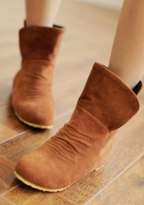 Brown Round Toe Slip-On Suede Casual Boots