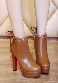 Light Brown Round Toe Chunky Rivet Fashion Ankle Boots