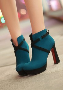 Blue Round Toe Chunky Buckle Zipper Casual Ankle Boots