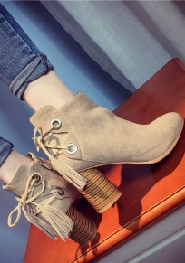 Beige Round Toe Chunky Zipper Fashion Ankle Boots
