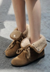 Yellow Round Toe Flat Two Wearing Casual Mid-Calf Boots