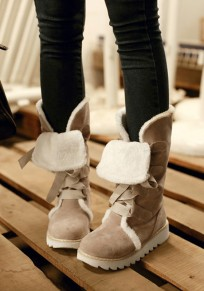 Beige Round Toe Flat Lace-up Fashion Mid-Calf Boots