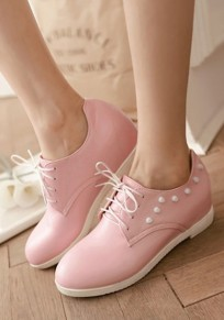 Pink Round Toe Rivet Casual Flat Shoes