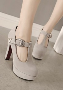 Apricot Round Toe Chunky Buckle Casual High-Heeled Shoes