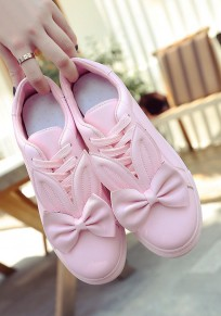 Pink Round Toe Flat Bow Lace-up Cute Shoes