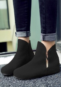 Black Round Toe Within The Higher Zipper Casual Ankle Boots