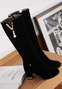 Black Round Toe Chunky Zipper Casual Boots