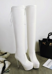 White Round Toe Stiletto Fashion Over-The-Knee Boots