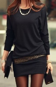 Black Patchwork Sequin False 2-in-1 Dolman Sleeve Mini Dress