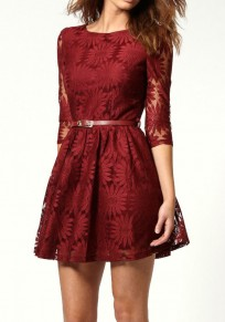 Burgundy Floral Sunflower Lace Embroidery 3/4 Sleeve A-line New Year Party Dress