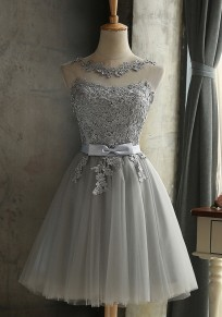 Grey Patchwork Lace Round Neck Party Polyester Mini Dress