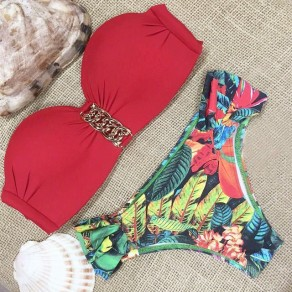 Red Floral Print Pleated Bandeau 2-in-1 Sexy Swimwear
