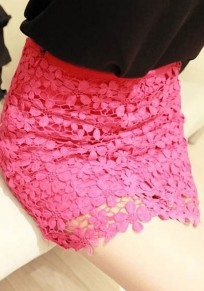 Pink Plain Wrap Sexy Classic Cotton Lace Skirt