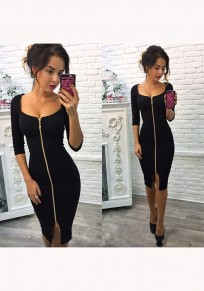Black Plain Zipper U-neck Three Quarter Length Sleeve Fashion Midi Dress