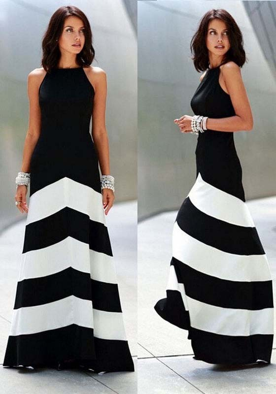 Black And White Color Block Evening Gown