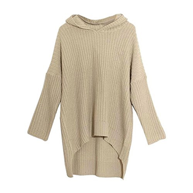 Apricot Hooded Dolman Batwing Long Sleeve Irregular Thick