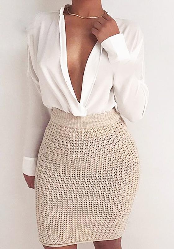 mi longue jupe crayon en tricot slim moulante mode blanc cass jupes bas. Black Bedroom Furniture Sets. Home Design Ideas