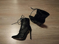 eee8f045415 Black Point Sneaker Peau Toe Stiletto Lace Up High Heel Fashion Ankle  Snakeskin Boots