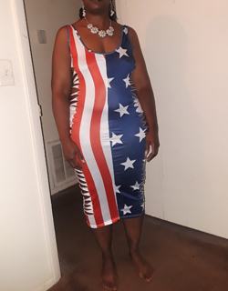 Multicolor Striped American Flag Print Independence Day Hollow-out Backless  Round Neck Bodycon Maxi Dress