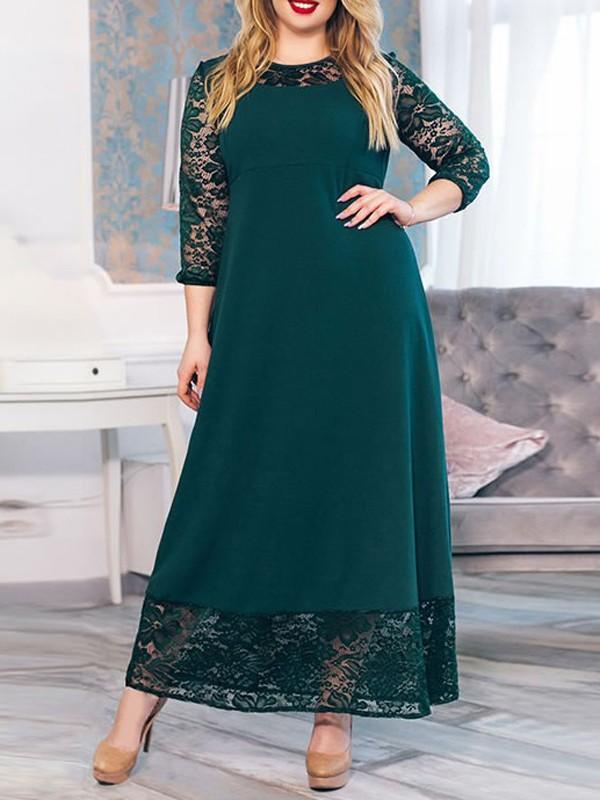 Grune Spitze Rundhals Grosse Grossen Elegante Party Maxikleid Festliche Kleid Abendkleid Maxikleider Kleider